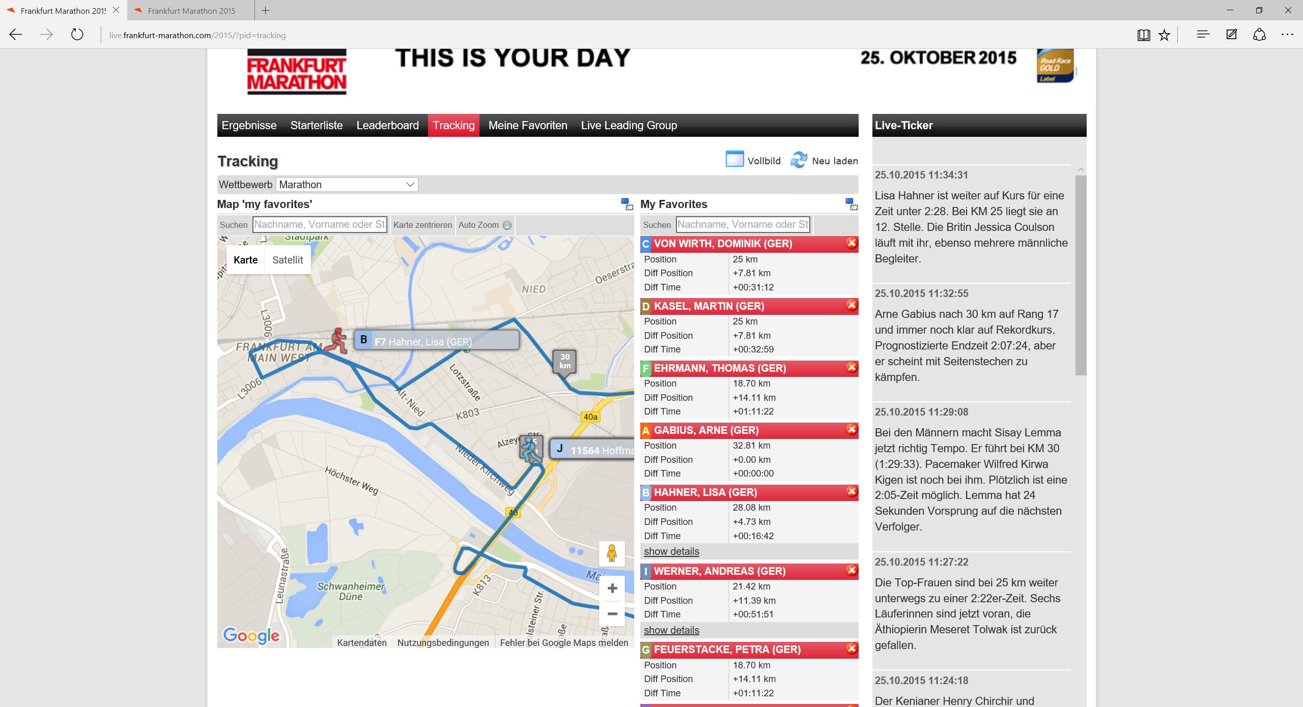 1:45 im Rennen: Sisay Lemma läßt seinen Pacer bei 33 km hinter sich und wird wohl gewinnen. Arne kämpft.