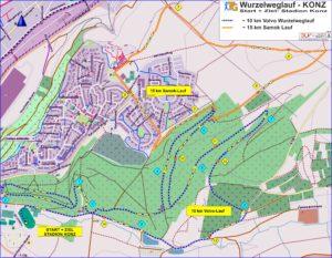 Wurzelweglauf Streckenplan 10+15km